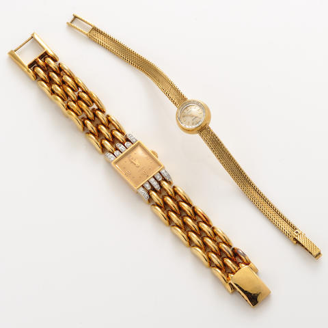 A diamond and 18k gold gold bracelet wristwatch, Longines with an 18k gold bracelet wristwatch, Omega