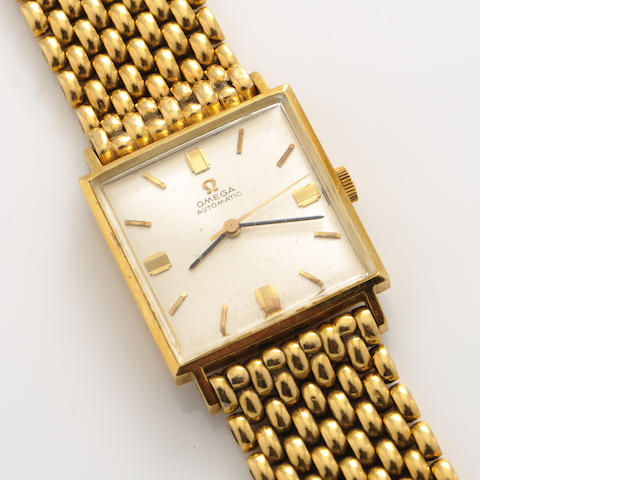 An 18k gold automatic wristwatch, Omega with later 18k gold bracelet