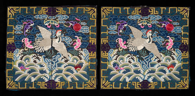 A pair of silk insignia badges<BR />Late Qing dynasty