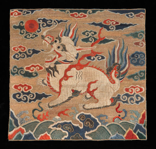 An embroidered silk insignia badge, buzi Late Ming/early Qing dynasty