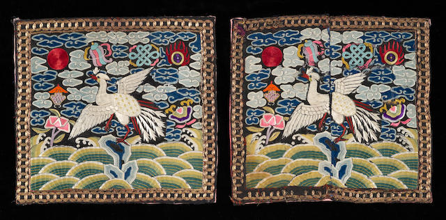 A pair of silk insignia badges Late Qing/Republic period