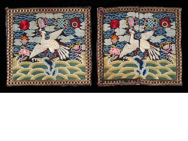 A pair of silk insignia badges, buzi<BR />Mid Qing, late 18th century