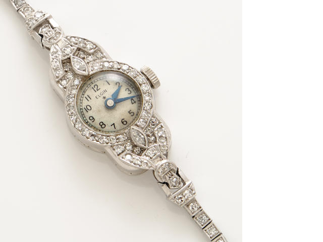 An art deco diamond and platinum bracelet wristwatch
