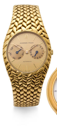 Audemars Piguet. An 18K gold automatic bracelet watch with calendarCase no. C 3444, 1980's