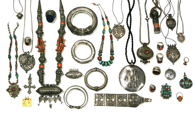 A grouping of Middle Eastern, Indian Subcontinental and Himalayan adornments