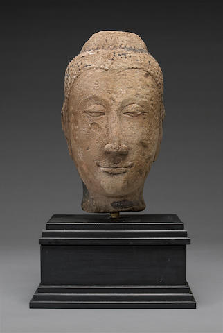 An carved stone head of Buddha Ayutthaya Style, 16th/17th century