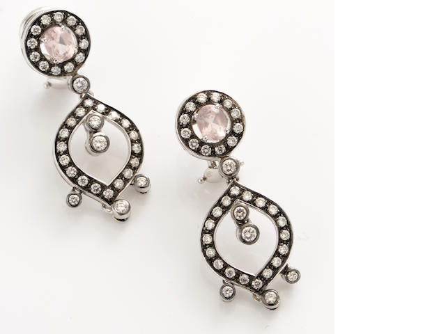 A pair of pink stone, diamond and blackened 18k gold pendant earrings