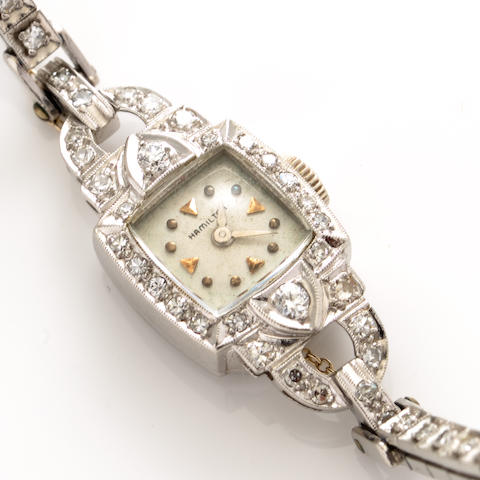 An art deco diamond and platinum wristwatch, Hamilton