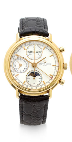"Eterna-Matic. A fine 18K gold chronograph wristwatch with triple date calendar, moon phase and registers""Les Historiques"" Ref:678.2147.68R, No. 875"