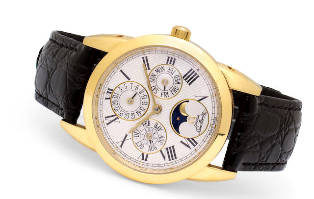 Omega. A fine18K gold automatic wristwatch with perpetual calendar and moon phasesLouis Brandt Cal. 1118, 1990's