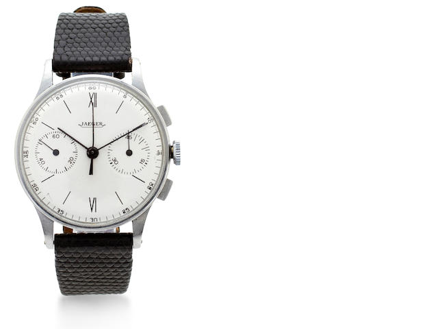 Jaeger. A stainless steel chronograph wristwatchMovement no. 17045