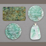 A group of four thinly sectioned jadeite plaques