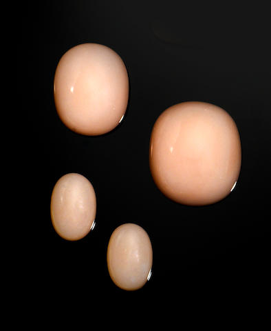 Group of Four Pink Opal Cabochons