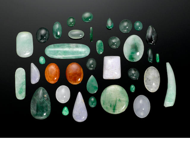 Large Group of Multi-colored Jadeite Cabochons