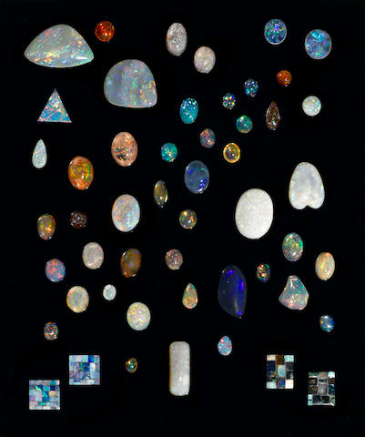 Assorted Collection of Unmounted Opals, Doublets and Intarsias