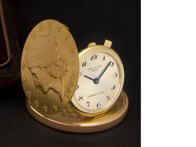 Patek Philippe. A fine 20 dollar gold piece pocket watchRetailed by Tiffany & Co., Ref: 803, Case no. 2659614, Movement no. 861473, 1960's