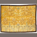 A yellow ground polychrome silk brocade horizontal panel of dragons 18th century