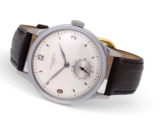 Patek Philippe. A rare stainless steel wristwatchCase No. 626943, Movement No. 922293, 1940s