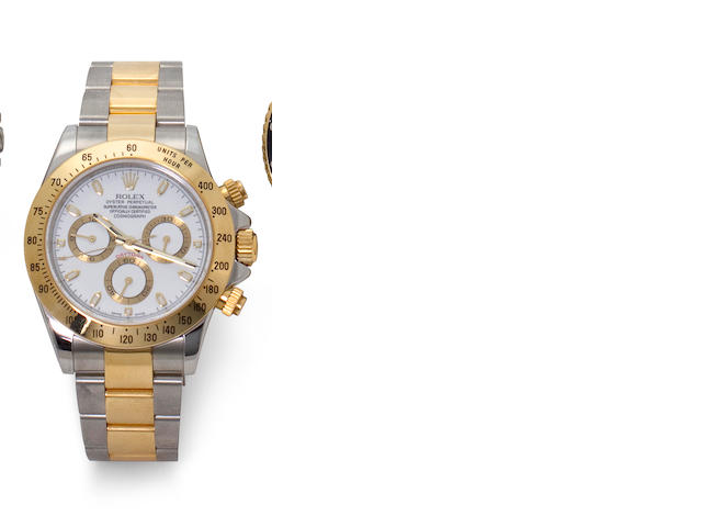Rolex. A fine stainless steel and gold automatic tachymeter chronograph and braceletOyster Perpetual Cosmograph Daytona, Ref:116523, Case no. D971490, circa 1996