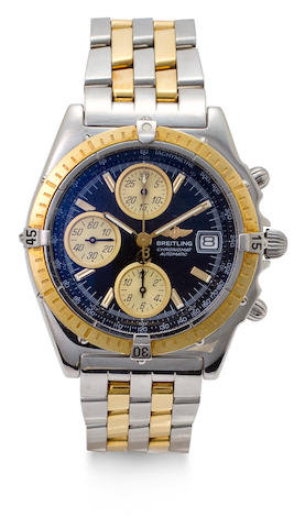 Breitling. A stainless steel and gold automatic tachymeter chronograph and braceletChronomat, Ref:D13050.1, Case no. 14250