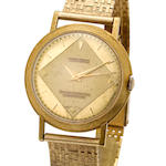 Ulysse Nardin . An 18K gold center seconds wristwatch and 14K gold braceletOfficially Certified Chronometer, Movement no. 5507263, Case no. 691276, 1950's