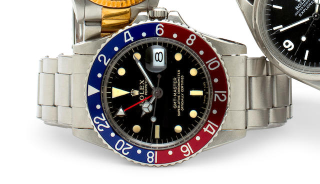 Rolex. A fine stainless steel automatic dual time zone center seconds wristwatch with date and braceletGMT-Master, Ref: 1675, Case no. 1347508, case dated IV 65