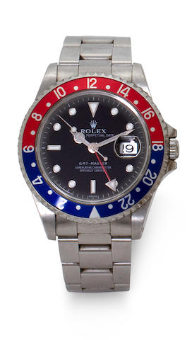 Rolex. A fine stainless steel automatic dual time zone center seconds wristwatch with date and braceletGMT-Master, Ref: 16700, Case no. U453629, circa 1998