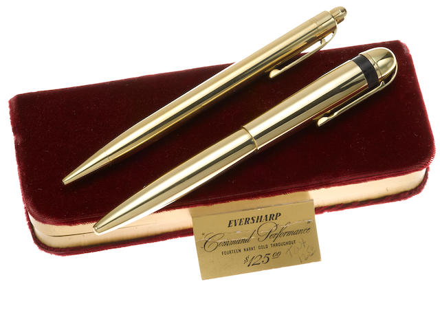 [Vintage] EVERSHARP: Skyline Command Performance 14K Solid Gold Fountain Pen & Pencil Set