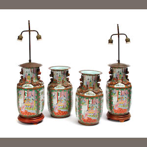 Four Canto enameled porcelain vases