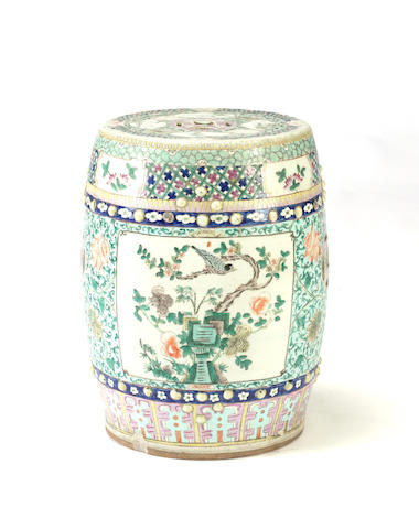 A famille rose enameled porcelain garden stool Late Qing/Republic period