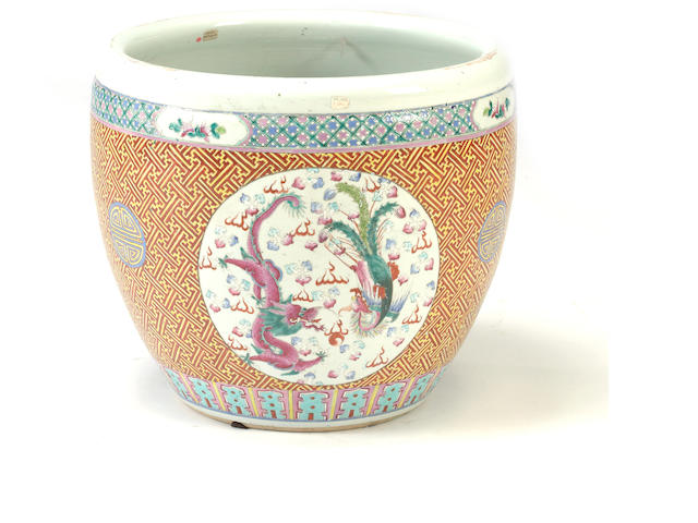 A famille rose enameled porcelain fish bowl Late Qing/Republic period