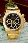 Rolex. A fine 18K gold automatic tachymeter chronograph bracelet watchOyster Perpetual Cosmograph Daytona, Ref:16528, Case no. E797289, circa 1990