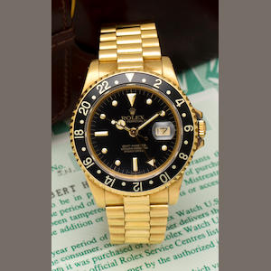 Rolex. A fine 18K gold automatic dual time zone center seconds wristwatch with date and braceletGMT-Master, Ref: 16758, Case no. 8600850, circa 1984