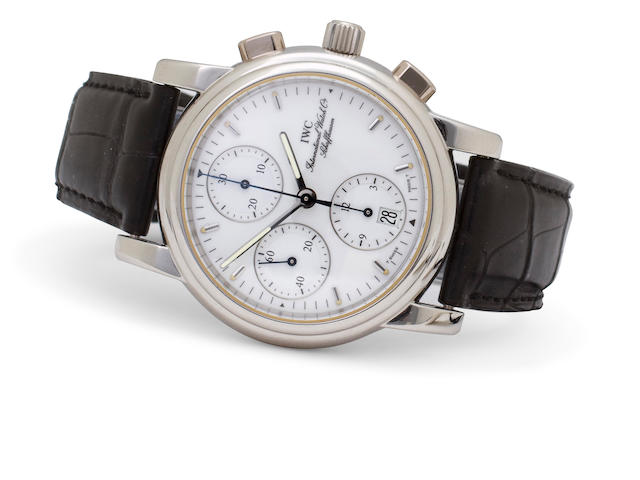 IWC. A fine and rare platinum automatic chronograph with date and registersAmalfi Chronograph, Ref:3703-003, Case No. 2486102