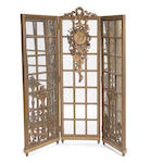 A Louis XVI style giltwood mirrored four panel floor screen