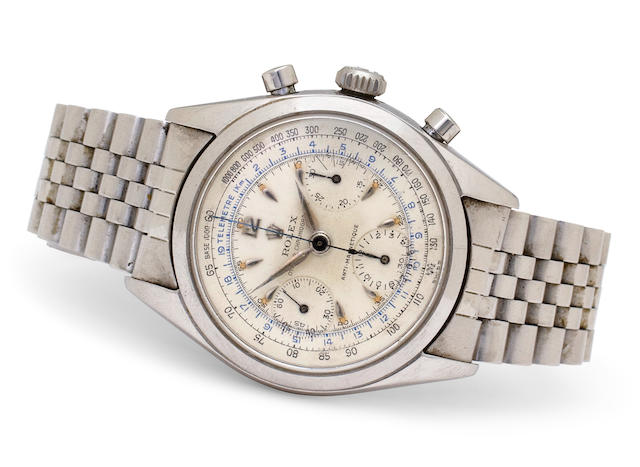 Rolex. A fine stainless steel tachymeter chronograph and bracelet Oyster Chronographe Anti-magnetique, Ref:6234, Case no. 130897, circa 1955