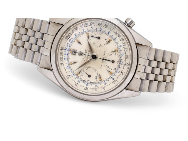 Rolex. A fine stainless steel tachymeter chronograph and braceletOyster Chronographe Anti-magnetique, Ref:6234, Case no. 130897, circa 1955