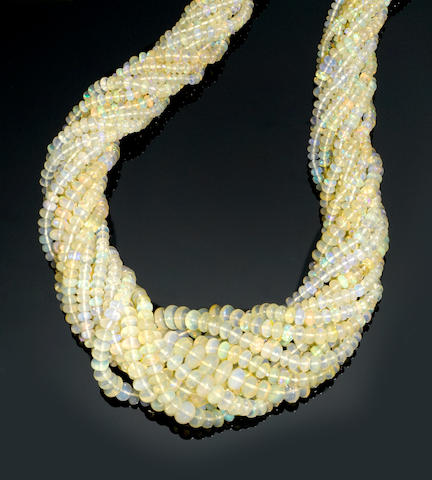 Hydrophane Opal Bead Necklace