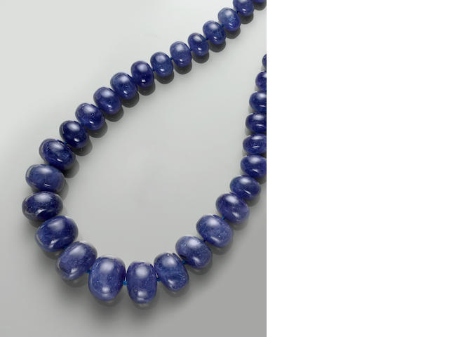 Impressive Tanazanite Bead Necklace, 18k, 13.28 cts.