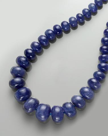 Impressive Tanazanite Bead Necklace, 18k, 13.28 cts.