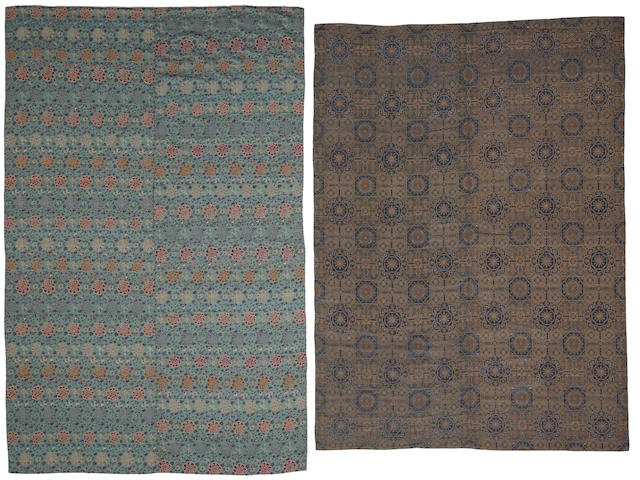 Group of three large pieced silk brocade panels 18th/19th century