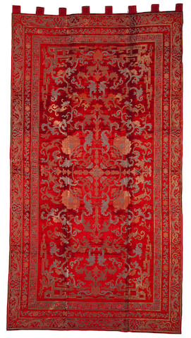 A massive cut and uncut silk velvet carpet 19th century
