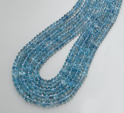 Exceptional Aquamarine Bead Necklace