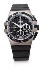 Omega. A titanium automatic chronograph wristwatch with co – axial escapementConstellation Double Eagle Mission Hills World Cup, Ref:121.92.35.50.01.001, No. 78352340, sold 2011