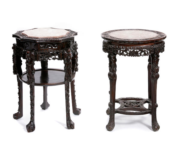 Two Chinese carved hardwood pedestals
