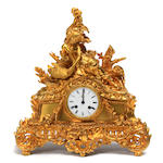 A French gilt metal mantel clock