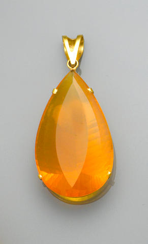 Fantasy-cut Orange Opal Pendant