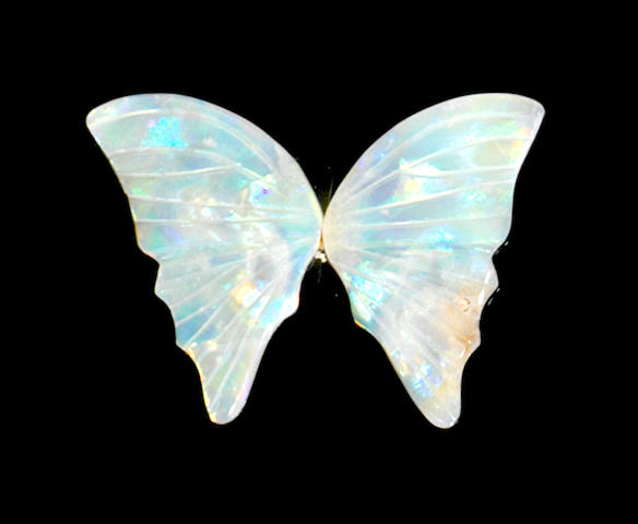 Pair of Carved White Crystal Opal Butterfly Wings