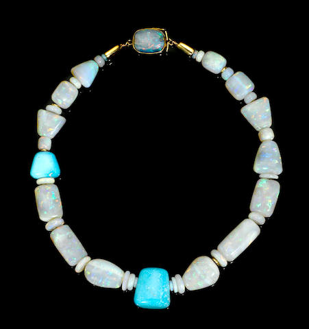 Custom-designed Light Crystal Opal and Turquoise Necklace