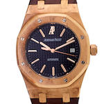 Audemars Piguet. A fine 18K rose gold automatic center seconds wristwatch with dateRoyal Oak, No. 0164, Case no. F42878, Movement no. 622792, sold 2006